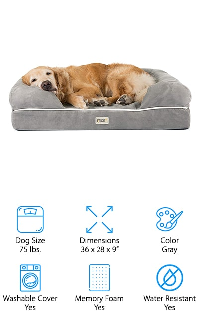 This dog bed is available in several different colors and different sizes so you can get an ideal fit for your dog. Even better, it's made with memory foam for a plush interior that's actually human grade. There's a water-resistant liner and a machine washable cover that keeps the bed comfortable for your dog, even if there are accidents or spills. Great for large dogs up to 75 pounds or multiple smaller dogs, this bed even comes with a 1-year warranty and a 100% satisfaction guarantee. The cover zips easily onto the bed and then can be removed whenever you want to clean or change. It's fur and hair resistant as well as anti-tear and even has a non-slip bottom so it won't move around on hard surface floors.