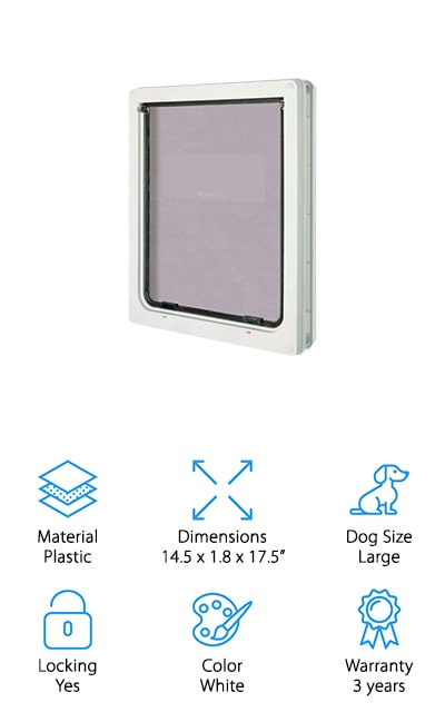 Next up is this awesome large dog door from Ani Mate. This one can be installed in doors and thin walls and is suitable for large dog breeds, like German Shepherds, golden retrievers, labs, or any dog with a maximum 25-inch shoulder height. The lightweight flaps are strong and durable but still really easy for your dog to push open. In order to prevent energy loss and help keep inside temperatures stable, the flap is brush sealed and has a magnetic closure that blocks cold winter air and summer heat from getting in. And don't worry about security, this door has a locking panel for when it's time to stay inside for the night so you can be sure that your dog is the only one using it.