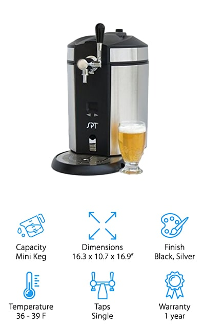 Last up is this mini kegerator from SPT, the BD-0538. This countertop design is perfect for anyone who doesn't have a lot of space. The adjustable temperature uses an LED display for easy monitoring and control. It holds the beer at an optimal temperature between 36 and 39 degrees F and keeps it fresh for up to 30 days. It uses CO2 pressure control and comes with 3 CO2 cartridges. That's not all, the stainless steel housing not only looks modern and sleek, it's also easy to clean and exceptionally durable. The removable water drip tray makes for easy cleanup. This one comes with everything you need to tap a non-pressurized mini keg as well as an adapter that fits the pressurized kegs some popular beer brands use.