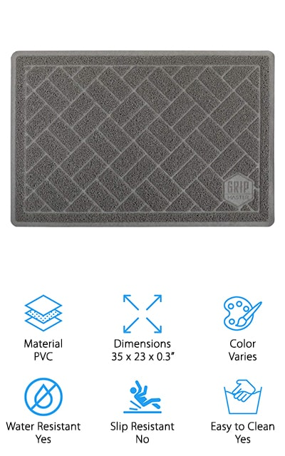 Last but certainly not least is the GRIP MASTER Cat Litter Mat. One of the best things about it is its size. This extra large mat covers 35 x 23 inches and provides a lot of coverage. Plus, it has a special litter-trapping border that keeps everything stuck on the mat until you clean it off. All you have to do is shake it off to remove the litter or vacuum to get anything that's embedded in the fibers. Plus, since it's water-resistant, you can scrub it with soap and water when it gets messy and it dries in no time. This amt includes a no questions asked warranty. No matter what happens, if you contact the company, they'll either provide a replacement or a full refund.