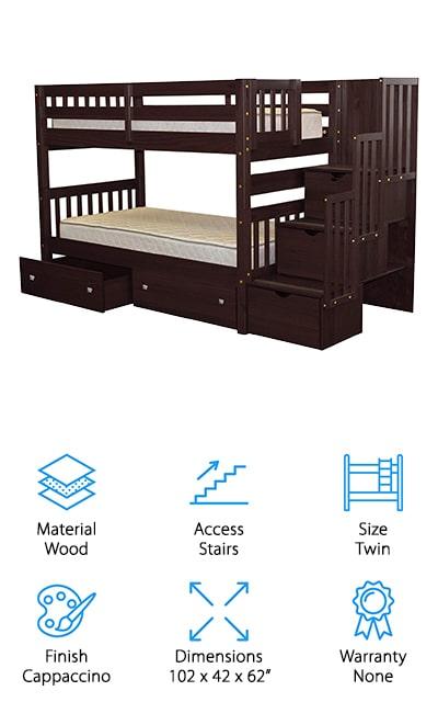 Bedz King Stairway Bunk Bed