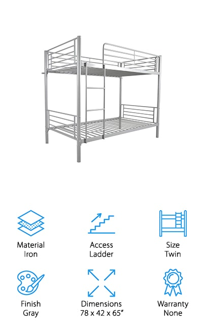 Check out our budget pick if you're looking for unique bunk beds for sale. The high-quality durable iron steel tube frame has a much different look than more traditional wooden bunk beds so if you're looking for something a little more stylish, this is a great choice for you. Not only does this bed look cool, but it's also insanely strong as well - strong enough to hold adults so you can even use it in a small guest room if you wanted to. The top bunk has a weight capacity of 220 pounds, the bottom 330 pounds. That's not all, the upper bed features a guardrail that's more than 13-inches high for the utmost safety. Assembly is really easy, too, in part because the instructions are really easy to follow.