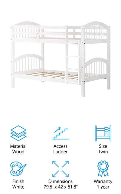 Last up is the Harper & Bright Designs Bunk Bed. It's made of solid wood and features a simple, timeless design with curved head and foot boards. This bed was specifically designed to be easy to separate into 2 twin beds so it can really grow with your kids to when they're old enough to get their own room or just decide that they don't want bunk beds anymore. You might be wondering how long your kids will be able to use these beds. Well, the top bunk can hold up to 250 pounds, the bottom holds up to 300. So, your kids really can use this bed for a long time. Other features include an easy-to-climb slanted ladder and guard rails around the top bunk for additional safety.