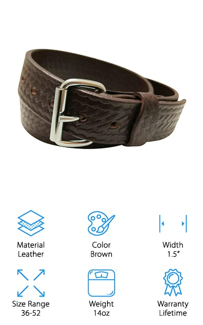 If you're looking for an unusual belt that's also a good belt for concealed carry, the DTOM Buffalo belt is for you. It's made of buffalo leather rather than cow leather, which is unique. It also makes the leather a little bit tougher than it would be otherwise. It's a solid piece of leather, and won't ever split or sag. It's a high-quality belt that will last you forever! It has a removable buckle that's secured with screws instead of snaps, so it's easy to change and it won't break on you. It weighs 14 ounces and 1.5-inches wide, which is perfect for all of your gear. This belt is tough all the way around and will hold up to everything you want to use it for. It's reasonably affordable and will hold all of your gear without breaking a sweat. If there's ever something wrong with it, it has a lifetime warranty as well!