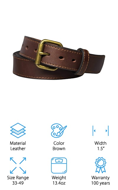 This men's concealed carry belt from Kmioc is a great go-to belt for concealed carry. It comes in a vast range of sizes, and it even offers instructions on how to size the belt correctly for the best effect. It won't split, sag, or stretch, which is definitely a perk that we love. The leather is full-grain and genuine, so it's definitely durable and can stand up to anything you need it to. It will hold all of your gear and more, and it's easy to adjust as well as being comfortable to wear. It's thick and 1.5 inches wide, so it will fit most concealed carry belt clips. You won't regret purchasing this belt for use every day, or on special hiking or hunting trips. It's a single piece of leather, so there are no weak points where it can be damaged.  We love that! And the super thick size makes sure that you can hold everything.