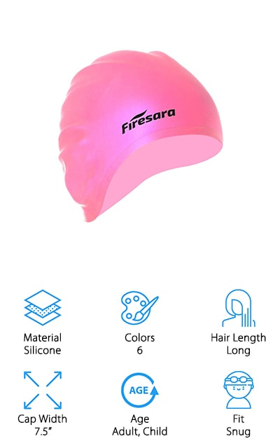 Coming in the final stretch of swim caps that keep your hair dry is this one from Firesara. It comes in six different colors, and you can purchase single caps or a three-pack of different color combinations. The unique part about this cap is that it's ergonomically designed so it comfortably fits the shape of a human head. You can take it off without snagging your hair, and you'll still get a tight, waterproof fit when you secure it to your head. Plus, it offers ear protection pockets so that your ears stay dry as well. The elasticity in this cap allows it to stretch to allow room for all of your hair! It comes with a nose clip and earplugs as well so you are completely protected from water while still having fun! Anyone in the family can use it because one size fits all. We think that's pretty amazing. Great for professional and recreational swimming!