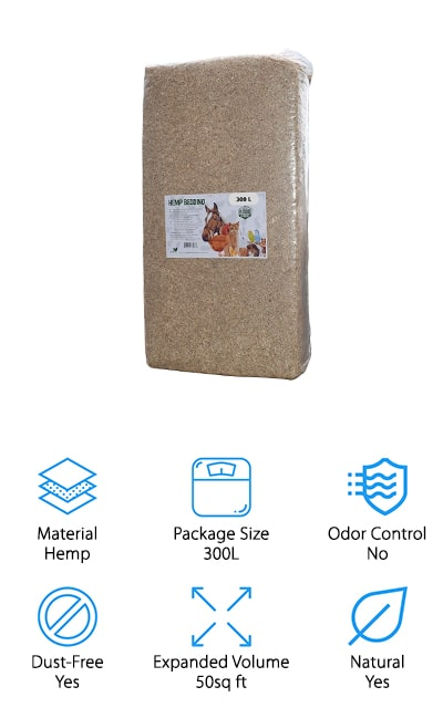 This alternative bedding for hamsters is made with hemp, This means that it's entirely organic and can be used as compost or in any organic waste disposal system. The hemp smells better than regular pine shavings would and absorbs a ton of moisture. This bag is about 300 liters compressed, which weighs 31 pounds and can be spread over an area of about 50 square feet. Plus, it's grown without any pesticides or insecticides, which makes it a great natural bedding option. It's great for horses, chicks, and even cats and chickens. Get the bedding that all of your pets will love! This hemp bedding for hamsters will keep you and your pets happy for a while because it will absorb so much. Plus, it's really comfortable! We also love that you can use it even with larger animals and livestock, so if you have several smaller cages, this is definitely the way to go!