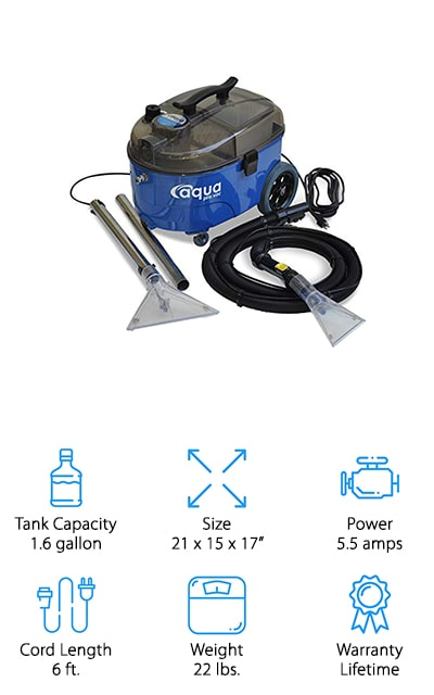 If you're looking for a large carpet cleaner that's going to get a whole lot done then you're definitely going to love this carpet cleaner. It actually has a tank that's over 1 ½ gallons in size, which means you can get a lot taken care of quickly, without having to empty and refill the tank. It's also a moderate weight, so you still don't have to worry about carrying it along. It has a powerful spray of water and has a clear spray tool and floor tool so you can always see what it's doing and how it's working. Not only that but you get a more powerful amount of suction. This portable system has a handle to make it easier for you to carry and it has wheels that roll it along the floor much easier. You'll even have a long power cord that makes sure you can reach as far as you need without adjusting the cord as you go.