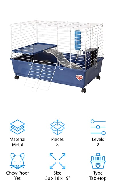 This may look like a simple guinea pig cage, but it's super fun for your pet. It has a deep basin that make sure your pet won't be getting food and bedding out of the table. You're going to have a food and water area and you're going to have stairs and a second level so your pet can easily see out as well. You're going to have plenty of space for them to sprawl out and get comfortable as well. With the narrow set wire of the upper section they're not going to get out and they'll still get plenty of the ventilation that they need. You're going to have a great place you can set up on a table and you can easily move it when needed because not only is it lightweight but it's actually on wheels as well. That means you'll be able to keep them comfortable and in just the right place.