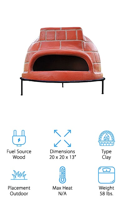 These home pizza ovens are definitely close to what you'd find in a traditional version. It's a clay oven that's smaller than some other options but provides you with all of the wood-fired design that you want. It heats as high as you want, with no maximum heat level. It's a little heavier than some options, but it's great for the outdoors and has its own legs to stand on. The metal stand makes it easy to set up where you want and you can even use this oven as a space heater if you need it. Here you're getting something that you can definitely enjoy and that your family is going to love using for pizza night as well. It comes with a stainless steel pizza peel, rake and cover to make sure you're ready to go.