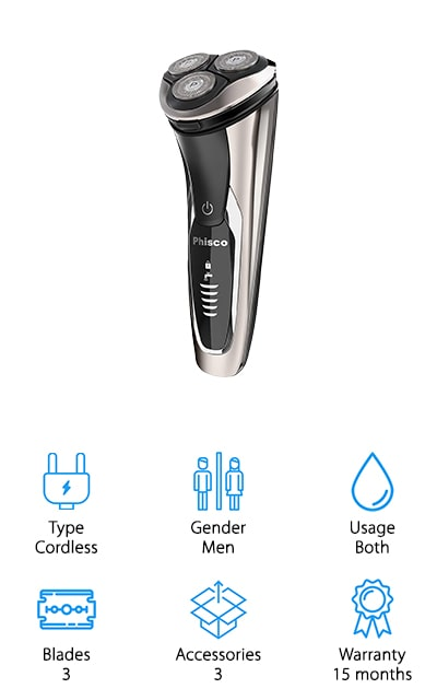 This men's razor is completely cordless, which means you can get the shave you want without being tied to an outlet. It's designed for both wet and dry use and even has 3 blades to offer you a close shave over your entire face and neck. It's entirely waterproof and works well with or without shaving gels. There's a quiet motor to this system that also works quickly and at a high level of power, so you can get your shave in easily without having to worry about the length or texture of your beard. In a single hour, you'll have enough power to get you up to 120 minutes of use time and you'll be able to plug it in directly to a USB if you need to shave it during different times of the day. You're also going to have 5 different levels for battery power so you can see how your razor stacks up at the moment.