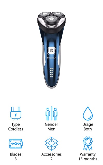This rechargeable, cordless razor is designed for men who want an option for wet or dry shaving. It has 3 blades that are actually foils, getting you a close shave without you having to worry as much about cuts and nicks. There are accessories to help you get a close shave in even more careful areas like your sideburns and mustache and this unit can give you 120 minutes of shaving in just a single hour. You'll be able to see the level of the battery from the indicator gauge and you'll be able to charge it up to take along with you when you travel. There's a 15-month warranty that says this razor is going to last you a long time and give you the shave that you want. It also has a   trimmer and a quiet, but high-speed motor. That means you can get shaved in the morning without worrying about the rest of the family.