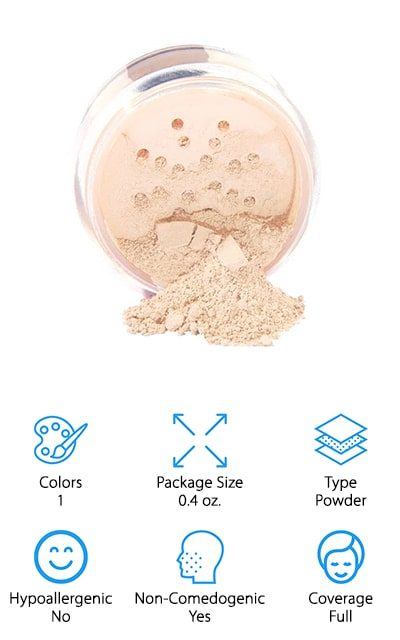 This top organic foundation is a powder product that you're going to love and it's going to provide you with a completely different style of coverage. It's available in only 1 color, but it does give you a completely different style. It's non-comedogenic, so you don't have to worry about your pores when you're using it, even every day. It provides full coverage and gives you UVA and UVB sun protection. The eco-smart design is great for you as well as for the environment around you as well. You'll be able to conceal more than just color variations in the skin but also wrinkles and fine lines. Overall you're going to have a small product you can take with you wherever you go and always have the ideal look for your needs.