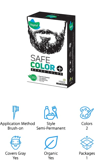 The final product on our list is a semi-permanent dye from Vegetal that's great for men looking for a natural option to keep their beard looking great! This dye is free of ammonia, peroxide, parabens, and other harsh chemicals that dry out hair and can irritate sensitive skin. It's organic and vegan-friendly, which is great for our vegan friends, or for people just looking for cleaner products to add to their routine! We also like that it not only protects your hair from UV damage, but it also helps promote healthy beard growth as well! This is a great dye for men with sensitive skin who still want a full, deep color in their beard. It's also good for men with overly dry or brittle facial hair because it won't dry out or damage the hair like chemical dyes sometimes can. Vegetal also makes hair dyes that you can get to match your beard, giving you an all-over natural look!