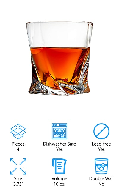 """Another great option to add some fun to your bar cart is this set of thick, durable bourbon glasses from Venero. We like that these have a """"twisted"""" look to them, which adds a bit of visual interest with a modern touch. The extra thick crystal keeps your beverages cool or warm for a long time and prevents excess condensation. They're also incredibly durable, so you don't have to worry about chipping or breaking them. We also like that they're dishwasher safe, so you can worry less about cleanup at the end of a long dinner party! They have a 10oz capacity, so you can use them for cocktails, neat drinks, or have one on the rocks! We think they make a great gift that you don't even have to wrap. They come in a satin-lined box that will look absolutely gorgeous on its own, or with a bright red bow on top if you want to spice things up!"""