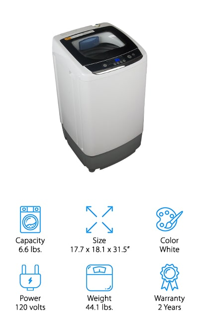 This is another top-rated portable washer we think will make a great addition to any small apartment, camper, or dorm room! Black + Decker made this washer to handle up to 6.6 pounds of clothing, and it comes with a variety of setting to help you get your clothes clean! You can adjust the water level, load size, rinsing cycle, and more so you can wash towels or delicates with ease! It hooks up to your sink's cold-water faucet, or you can even hook it up to a washing machine inlet if you'd like. The draining tube can go right back into the sink, and it has a hook to keep it attached to the countertop securely. We also like that this washer comes with an anti-imbalance detector that will shift your load around to prevent tipping or jostling during the spin cycle. There is also an adjustable foot to level the machine, even if it's on uneven flooring!