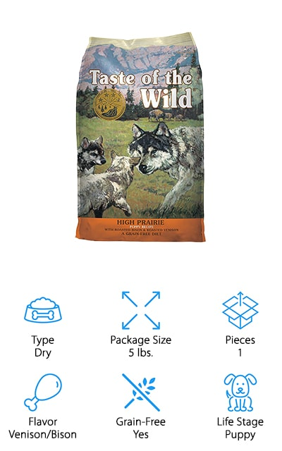"Last up is this dry puppy food from Taste of the Wild that is specially formulated for your growing pup! If you're wondering, ""What is the best inexpensive dog food for my puppy?"" then you've come to the right place! This food has exactly what your puppy needs to grow into a happy, healthy dog. Puppies require a diet of mostly lean protein, veggies, and fruits, and this dog food has all of it – and for a decent price! It contains roasted bison and venison for lean protein and essential amino acids for muscle, organ, and brain development. There are fruits and vegetables like sweet potatoes, peas, tomatoes, blueberries and raspberries for vitamins. To encourage healthy digestion, their kibble also has natural probiotics from chicory root. The smaller kibble size is also better for digestion, especially when your puppy is still quite small! This is a great option to give your puppy a good head start without breaking your budget!"