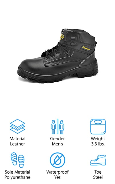 "If you need steel toe work boots that are both comfortable and tough, grab a pair of these work boots from SAFETOE! These boots are made for tough working conditions while still being comfortable to wear all day. The leather boots are waterproof, which keeps your feet dry and warm in the winter, and reduces odors from excess moisture. To protect your toes, they have an extra wide steel toe, which is both impact and puncture resistant. There is also a steel plate below the midsole to protect the bottoms of your feet from punctures, like stepping on a nail or metal scraps! The insoles are extra cushiony to give you that ""walking on clouds"" feeling, even after hours of wear. The soles are both slip resistant and oil resistant, so you can walk around without worrying about slipping and falling on just about any surface. For dangerous job sites, definitely grab a pair of these boots to stay protected!"