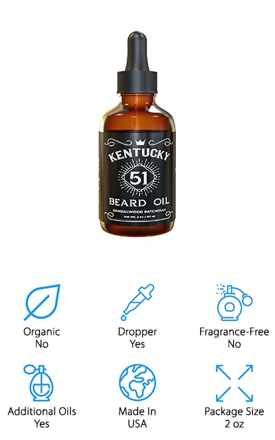 Last up on our list it something a little different, Kentucky 51 Beard Oil. This one contains a mixture of jojoba oil, apricot kernel oil, and oakmoss sandalwood oil and is formulated to help both your beard and skin stay soft and moisturized. Plus, it smells absolutely amazing. The consistency is just right. It soaks into your beard and skin quickly to take of unruly, coarse hair and dry, itchy skin. The 2 oz bottle is made of dark amber glass to protect the oil and extend the shelf life by keeping it out of direct light. It features a cool label that's reminiscent of popular whiskey brand and includes an easy-to-use dropper for application. Another great think about this product is that it comes with a 100% satisfaction guarantee.