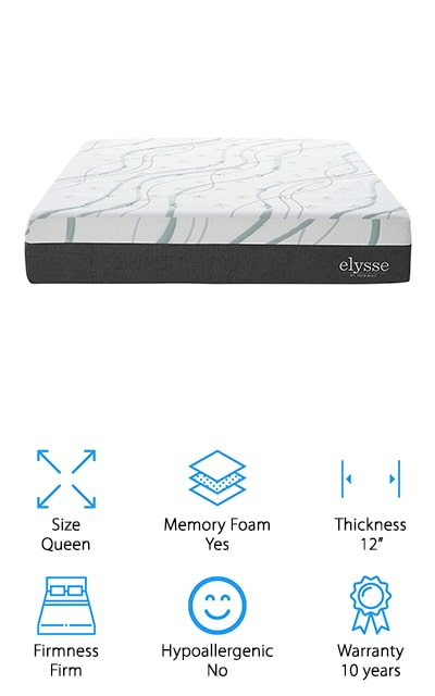 The Modway Elysse Cooling Mattress is next in our cooling mattress review. This hybrid mattress was designed to relieve pressure on your hips, back, and shoulders. How does it do it? Layers. The top is covered with a layer of gel-infused memory foam. It has an open cell design that allows air to flow through, keeping you cool and dry while you sleep. Below that is a layer of standard memory foam and then a responsive base foam. Finally, the bottom layer features individually wrapped coils that provide amazing support. One of the best things about this mattress is that it's great for couples. The coils limit motion transfer so you're less likely to wake your spouse. That's not all, the support goes all the way to the edges, good news if someone is hogging your side of the bed.
