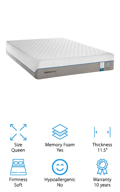 Last up is this Tempurpedic cooling mattress, the Cloud Supreme Breeze. If you've been waiting for a soft mattress, you're in luck. The top layer was made to quickly adapt to the shape and weight of your body, enveloping you in cloud-like softness while still providing the support you need for your joints and pressure points while you sleep. That's not all, there's also a performance fabric cover that's breathable and lightweight, basically providing the feel of a pillowtop without actually having one. And get this, it's also infused with cooling materials. With the Cloud Supreme model, the cover is also removable and can be throw in the washing machine to clean and refresh it. One more this, this entire mattress works to disperse heat, including the supportive base layer. If you're looking for soft, cooling support, this could be the one for you.