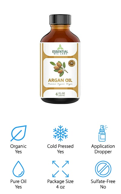 Last but not least is this pure argan oil from Essential Oil Labs. This oil is ethically sourced from Morocco and cold-pressed to produce a really high-quality oil. There are no additives or fillers and it's pesticide free. Essential Oil Labs uses an extraction process that keeps all the good stuff in this oil intact, like Vitamins A and E, linoleic acid, and Omega-6 fatty acids. Because it doesn't leave behind a greasy residue, it's great for any skin type, even oily or combination skin. That's not all, while this oil is great when used on its own, you can easily mix it with your beauty products or essential oils to get the best possible hair and skin. The dark glass bottle keeps it protected from the light and includes a dropper for ease of application.