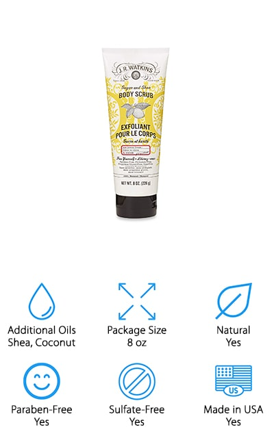 If you're looking for a sugar scrub that comes in a convenient, easy-to-use tube that you can just toss in your bag for vacation or a quick weekend away, check out this product from J.R. Watkins. The 8-ounce tube makes it really easy to dispense exactly the amount you need with no mess. This scrub contains 100% natural sugar and shea butter to exfoliate and smooth your skin as well as coconut and sunflower oil for silky smooth hydration. This scrub is a little bit thicker than some of the other on our list so, even though there are only 8 ounces, you only need a little bit and it should last a pretty long time. This product is proudly made in the USA and is never tested on animals.