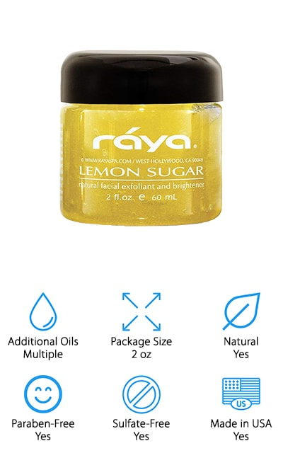 Last but not least is this awesome lemon sugar face scrub from RAYA. This is a great choice for normal or oily skin that uses organic sugar to gently exfoliate and lemon to help rejuvenate skin and improve texture. That's not all, it also includes natural cleansers that help brighten the skin without stripping away any of its natural oils. It won't cause dryness and helps seal in moisture without leaving behind any oily residue. Safflower, avocado, orange, and carrot oils are added for even more benefits while also blending together to give this product and amazing scent. It's paraben and sulfate free and made in the USA using natural ingredients. Although this product is only 2-ounces, remember, it's made for your face and a little goes a long way. You'll be surprised how long it lasts!