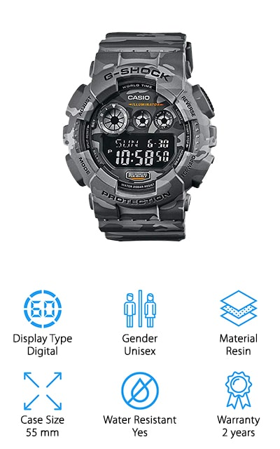 This is a relatively cheap Casio g shock watch, but that doesn't mean you're not going to get the features that you expect. It's a shock resistant and water resistant watch that can withstand just about anything that you throw at it. The camo color is unique and stylish and the fact that it has a resin band and frame helps to make it even more durable. This unisex watch features a digital display as well as the date and a tilt feature to make it easier to see in the dark or low light. You'll have all of the features that you're looking for when it comes to this watch, and you'll love the 55 mm case as well, which is large enough for anything, while still making a great statement for those with smaller wrists as well.