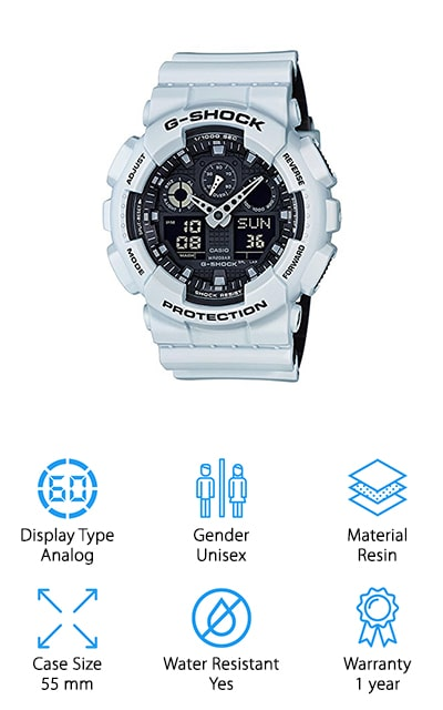 This is actually the best Casio g shock watch for a number of reasons. For one thing, it's actually considered a military series watch, meaning that it provides you with a whole lot of features all at the same time. You're also going to get style because this analog watch has a white band and frame with sleek gray and black for the face. It provides you with the time, the date, and a whole lot more as well as being water resistant to 200 meters. Made with a resin band, it's designed to be comfortable as well as durable, no matter what you throw at it. You'll get a 1-year warranty included that lets you know you have something high quality that's going to last. You'll also get a strong backlight that makes it easy to see even in the dark and you'll have the backing of a company that you definitely know.