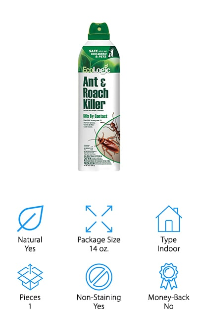 Our final option is an eco-friendly product that's a black ant spray and a whole lot more. This product is great for use indoors and can help you get rid of spiders, crickets, ants and other insects that seem to think your home is their home. Botanical-based, you don't have to worry about this spray when you use it around your family and even around your pets because it's made with natural products. It's an aerosol that's simple to use and gives a light scent of lemongrass when you spray it around your home. For anyone who wants to really get rid of those insects without spending a whole lot of money this is a great product to look at, especially if you're looking for something that's healthier for those around you to experience.
