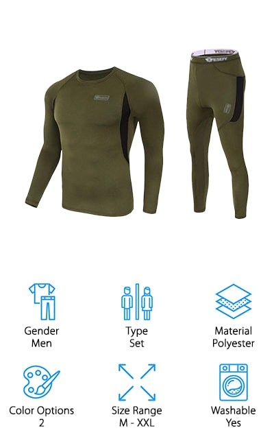 This set of men's hiking underwear is designed to keep you fully protected from the cold air. They're available in 2 different colors and also come in a range of different sizes. Able to preserve heat and keep you warm they're also fully breathable and quick drying with moisture wicking properties. All of that means you're going to have no problem staying comfortable and just the right mix of cool and warm. On top of that, they repel odors and have abrasion resistance, keeping them more durable. Made with polyester and spandex they are flexible and easy to maneuver wherever you go and whatever you need to do throughout the cold weather. You'll have the full set here that also offers the ideal level of protection as a base layer.