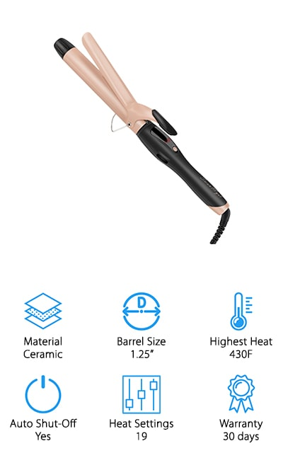This curling iron by SwanMyst comes with a thermal glove to help you style, and two clips so you can work on separate parts of your hair at different times. The 1 1/4 –inch barrel is perfect for loose, bouncy curls. Plus, they're going to last with this iron. It's a ceramic iron that's made with tourmaline, which is what gives it the pinkish cast. This iron helps to keep your hair healthy by releasing negative ions and even heat so that your curls are lustrous and silky. Plus, they help to reduce static and frizz. The extra-long barrel and lower heat settings (265 is the lowest of 19 settings) make this the best curling wand for straight fine hair. You'll be able to wrap all of it around the barrel to get some of these long-lasting curls. It saves you time this way! The tip is even insulated so you can style the way that you want.