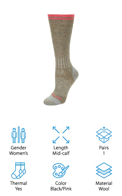 Carhartt is back on our list again with their women's compression socks. These are pretty thick socks for work boots, so they're a good sock to choose if you're between shoe sizes and need to fill in extra space. The trade-off is that they are incredibly warm. In the winter, these are the socks you're going to want on your feet. The compression feature also helps to keep blood flow up, which in turn decreases the amount of fatigue that you'll feel at the end of a day. Use them for outside work during the winter, or camping and hiking in the fall. Your toes will always be warm and toasty no matter the temperature outside. Plus, your feet will be comfortable even after working all day. Combined with the right boots, these socks are amazing!