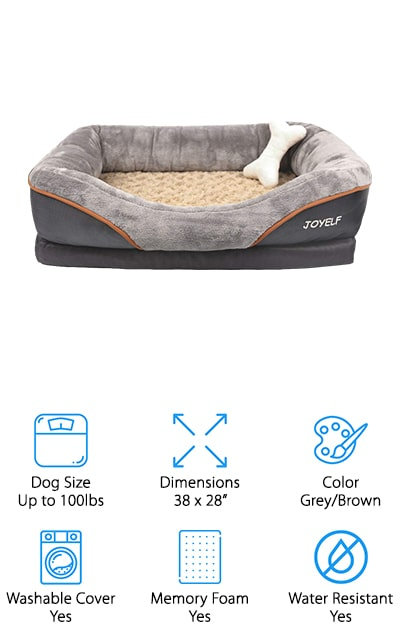 JOYELF's pet bed is luxurious and unique. We love the high-quality plush materials that your dog gets to enjoy, with insides that will ease your mind. It's got a solid memory foam base to perfectly support your pet and keep them comfortable after a long day of play. The bottom is non-slip rubber with a waterproof coating, so the bed remains dry and comfortable even in the face of damp paws. The bolster around the rim is filled with cotton, so it's comfortable and resilient. Your pet is going to love putting their head up on this pillow to rest. It has a hidden zipper that you can use to remove the cover and wash it. You can even throw it in the dryer when it's done. A special bonus is a bone-shaped squeaker that comes with your purchase. The day this bed arrives at your door is going to be your dog's favorite day.
