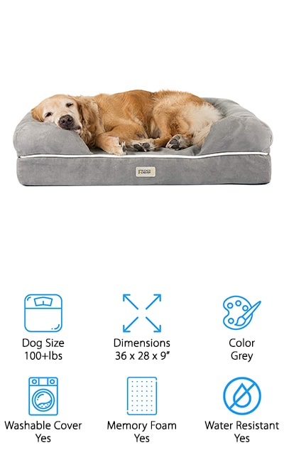 This orthopedic dog bed by Friends Forever is specifically made with pets that have joint issues in mind. The mattress foam is human-grade, so you know that it's going to be perfect for your pup. There's a bolster all the way around the bed which provides head and neck support, an important feature for joint pain and other issues. There's a water-resistant liner under the cover, and you can take the cover off via the zipper to wash it when it gets dirty. This is an extremely durable bed with a non-slip bottom so you can use it even on hardwood or vinyl floors without worrying. The cover is extremely soft as well as being resistant to fur and hair. It also won't tear easily, making this the perfect bed for puppies as well as older dogs. They are absolutely going to love their bed – you might not even get them out of it to play!