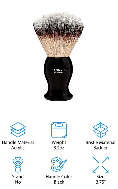 Benny's of London makes a slightly smaller shaving brush, coming in at only 3.75 inches long from the tip of the bristle to the base. However, it's one of the best-looking brushes that we found, and our shaving brush reviews wouldn't be complete without it. The handle is a black acrylic that shines beautifully, and it comes in an all-black case that's very beautiful for gifting. And what shaving soap fan wouldn't want to get this brush as a gift? It's going to make a nice thick later for your soap that will keep your skin from drying out or being irritated by your shaving efforts. This brush is one of the best gift brushes that we found because of the packaging and the overall quality. Whoever you choose to gift it to is going to love getting this brush for any special occasion. The badger bristles are soft and high-quality, not to mention being completely genuine.