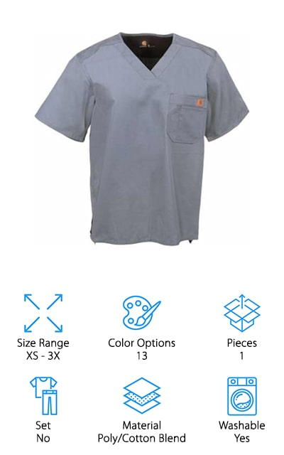 Last up is a great scrub shirt by Carhartt. The poly/cotton ripstop material is made sing interwoven reinforced threads to create a strong, durable fabric. It's then lightly sanded on the inside for maximum softness and comfort. Plus, because it's machine washable, you can easily wash away all the germs and ickiness from the day. The chest pocket features a small logo patch and an angled pen slot for easy access. A bi-swing back yoke provides ease of movement and a drop-tail hem gives you 1.5 inches more length in the back. This shirt is available in sized XS to 3X and comes in 13 different colors. There are some common colors available, like black, ceil blue, and navy, as well as some more colorful options like royal blue, Caribbean blue, and wine.