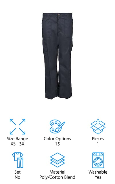 If you happen to be looking for an awesome and useful pair of scrub pants, check out these cargo style pants from Carhartt. Hands down, the best thing about them is the number of pockets they have. There are 8 in all. There are 2 side pockets, 2 double cargo pockets, and 2 rear pockets as well as a utility loop on the right-hand side. The poly/cotton blend is machine washable and really comfortable, too. In addition to the half elastic back, these pants also have a fully functioning zip fly and a drawstring so you can get the fit just right. Not only do they come in sizes XS to 3X, but they're also available in short, medium, and tall lengths. That's not all, you can also choose from 15 different colors.