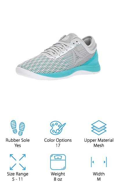 The Reebok CROSSFIT Nano 8.0 Trainers were made for high-intensity workouts. They even have CROSSFIT right there in the name. For starters, the breathable Flexweave upper with Toe Tection not only moves with your foot, but it also provides security and durability for fast, multi-directional movements. A minimal drop outsole adds stability and the wide toe box provides the comfort you need for repetitive, powerful movements. The forefoot features grooves that move with your foot and the heel bootie increases performance without any discomfort. A low-cut design allows your foot to move in any direction and the rubber sole provides the grip you need for indoor workouts on any surface. With 17 color options, it's a safe bet that you'll be able to find one that speaks to your individual style.