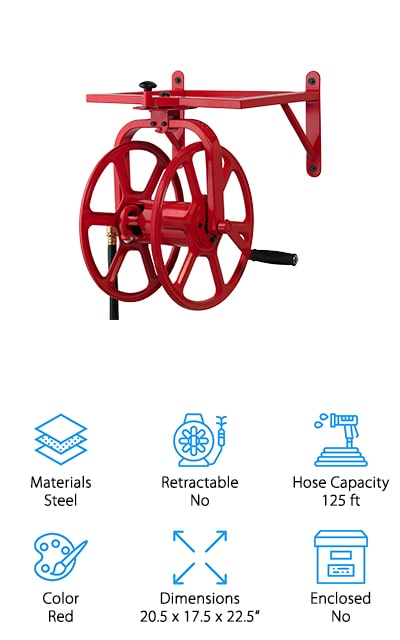 This reel from Liberty Garden Products is reminiscent of what you might expect to find in an old firehouse. It's made of 18-gauge steel and has a powder coat finish to protect it from the elements and prevent rust and corrosion. The bright red reel turns 360-degrees for unparalleled movement. It features 24 different locking positions, too, for when you want more stability. To rewind, lock the reel into position and simply turn the crank. It even has a padded handle to make cleanup as easy as possible. A 5-foot leader hose is included so you have plenty of length to hook up to the water supply. This reel holds 125 feet of ⅝-inch hose and can be easily mounted to any wall using the integrated brackets.