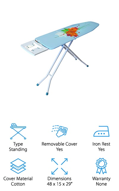 When it comes to ironing boards for steam generator irons, this Ybm Home is a great example. The cover is breathable, so it allows for the steam to get right where it needs to go. The legs are made of heavy steel. The cover will be chosen at random from a selection, which we think is great. Who doesn't like a surprise? The metal leg locks keep your ironing board right where it is. You can adjust between 29 inches and 36 inches depending on your height and comfortable ironing level. We love the bright designs, and the board has been engineered in such a way that the cover won't slip when you're ironing. We love that! Plus, it folds flat for storage so you can keep it tucked away. The iron rest on this ironing board is the cool part – it's a huge rest with plenty of room and heat resistance. It's a great standard ironing board!