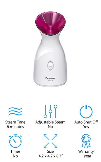 Panasonic is a well-known name for home products, and this facial steamer is a great addition to their line-up. There is a single steam intensity, and you can use it for up to six minutes. This machine may be small, but it is mighty. You can take it with you through your house, but it's also a great travel companion if you don't want to forgo your skincare routine when you're traveling. Use it regularly in the morning for some great results, including moisturizing and more effective cleaning after use. It's a stylish design that is small enough to fit on just about any vanity or bathroom counter. You're going to love the metallic pink spout where the steam pours out. It's just the right touch of color to make the product look more feminine. Plus, it works with nano steam to get that deep penetration faster. That's effective for doing everything that it needs to, but faster!