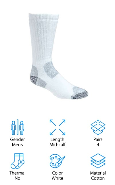 These socks are some of the best work socks for steel toe boots. That's because the toe and heel are reinforced and have extra padding – extremely useful when your toes are going to be hitting metal for part of the day. These are the socks you want for long periods of walking or hiking. They have arch support and compression, so the entirety of your foot will feel more comfortable all the time. They are durable as well, so you're going to want to put them on for those long days on your feet. Other socks might develop holes, but these socks won't – not where you need them to hold up the most. As an additional feature, the breathable design wicks away moisture to keep your feet dry and odor-free. The blend of cotton and nylon is perfectly soft and comfortable. These are simple socks to keep your feet comfy and free of the regular aches and pains.