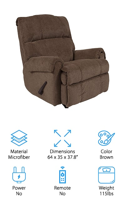 This recliner by Flash Furniture is a little different than the others on our list. It's a manually-reclining chair which works with the typical handle low on the size of the chair. If you're looking for something traditional and familiar, this just might be the chair for you. It's also a rocking recliner, so when you aren't kicked back, you can take full advantage of the nice gliding feature. This is a great gift for new parents because they can rock their baby to sleep and then kick back after a long day. The back and arms are particularly plush, and the upholstery is made of a soft microfiber that is comfortable and smooth. It's just the right size for the average person and it's easy to clean and recline. Plus, the contemporary style will fit into a vast number of décor options. Forgo all of the newer designs with this classic rocker recliner that's always been a favorite.