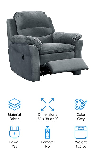 The AC Pacific Felix model is one of the best recliner chairs for the elderly that we found. It doesn't have a remote, but you can use the button to make the chair recline slowly and easily. It's a power chair with an electrical reclining system, so you can set it to any angle that feels comfortable to you. The power button also includes a USB charging port so that you can charge your phone or other devices while you're relaxing. This particular chair is grey with fabric upholstery that is comfortable and contemporary. However, it is available in other colors if grey isn't your thing. If you need the perfect sized recliner for a smaller place, this is the one for you! At only 98 pounds, it's one of the most comfortable and yet smallest recliners on our list. You're going to love the extra-plush cushions, upholstery, and the easy-gliding electric reclining system.