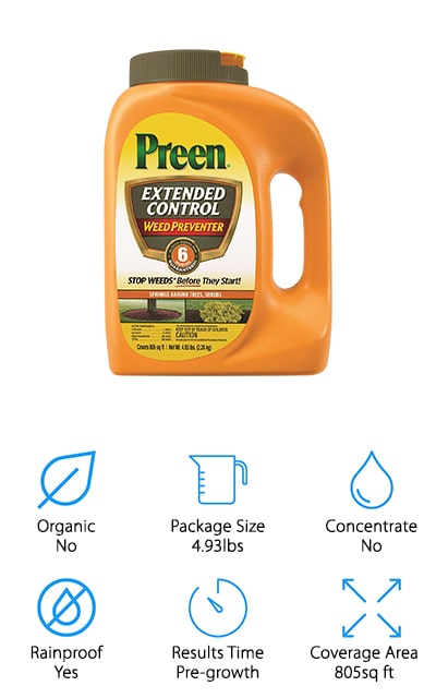 Preen makes one of the best commercial weed killers on our list. It a long-lasting formula as well, because it works to prohibit the growth of weeds for six months after application. That's amazing! However, it's best used in areas where there is no desirable vegetation because it can kill even perennial flowers, trees, and some shrubs. You shouldn't use it on the lawn or in your garden, and especially not with edible plants. These are granules rather than liquid, so you can apply them by gently tilling the soil where you want the weeds gone, spreading them near the roots, and watering them down so they soak into the soil. This helps keep them away before they start growing. Make sure to weed the area before applying for the best results. It gets into the soil and stays there. We love that it only takes two treatments a year to keep the weeds away.