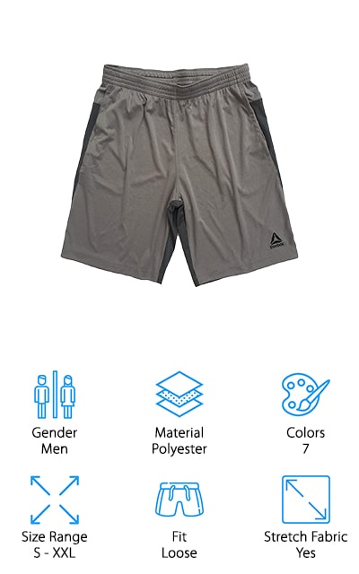 These options don't include white crossfit shorts but do include a number of other colors. With the 4-way stretch fabric, they'll be comfortable and you can move through any motions you need. They offer a loose fit but stay comfortable with the polyester material. They're also moisture-wicking, which means they're going to stay dry, even with your most strenuous workout. Not to mention this is another company that's well known for high-quality athletic wear. Available in several different colors and sizes, these shorts are made for men and offer an elastic waistband to make sure they have a little bit of flexibility. The long style of shorts also provides more coverage.
