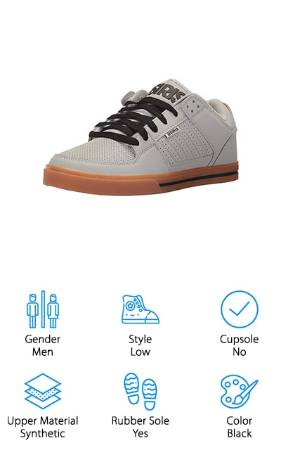 These skate shoes are designed for men and come in a range of different colors and sizes to match your personal preference. They are 100% synthetic for the uppers as well as rubber for the sole. With these low-top shoes, you'll get durability as well as ideal comfort for your ride. The style is standard and gives you extra padding for the tongue and the collar so you get support but you also get plenty of comfort to go along with it. The outsole is designed for abrasion resistance so you can wear them extensively for any purpose. You'll also have a fully lightweight shoe that you can count on while you're riding and doing anything else. Don't worry about trying even those more advanced tricks.