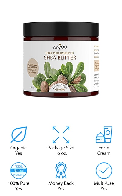 Designed specifically for use in your own skin and hair care products, this is also a raw shea butter for hair growth. It's raw, unrefined and cold-pressed with absolutely no additives or preservatives. It's also cruelty-free and never tested on animals. Pure and full of fatty acids, vitamins and more, it's great for moisturization wherever you may want it. Whether you need health for your hair or your skin, this is definitely the way to do it. Direct from Africa, this is a high-quality product for treating many skin conditions. If you're looking to make your own products this shea butter can be used in deodorants, creams, lotions, salt scrubs, body scrubs, lip balm and a whole lot more. And it will give you moisturizing benefits in any form.